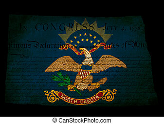 USA American North Dakota state map outline with grunge effect flag insert and Declaration of Independence overlay
