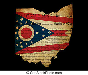 USA American Ohio state map outline with grunge effect flag...