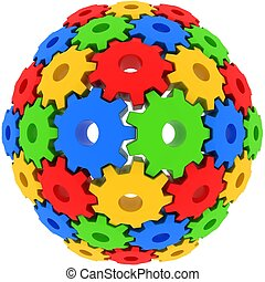colorful gears on white background with fish eye camera...