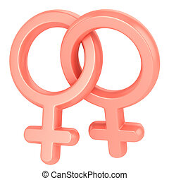 two female symbols crossed representing gay relationship,...