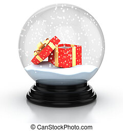 open gift box in the snow dome over white background