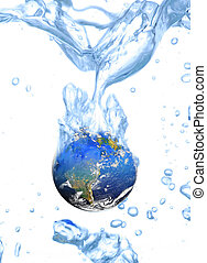 earth - Close-up of the earth falling into clear water