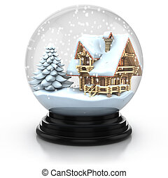 glass dome winter scene - wooden house and tree cover with...