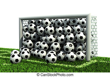 goal full of soccer balls on the football field