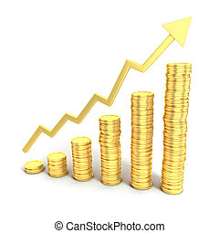 financial growth 3d concept - golden coins as bars rising on...