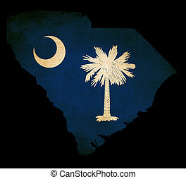 USA American Souh Carolina state map outline with grunge effect flag insert