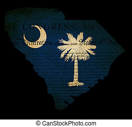 USA American South Carolina state map outline with grunge effect flag insert and Declaration of Independence overlay