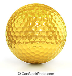 golden golf ball - golden golf ball isolated over white...