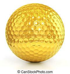golden golf ball - golden golf ball isolated over white...