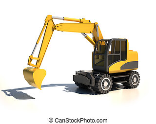 3d excavator illustration