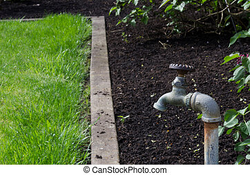 Water faucet or spigot in the garden - A water faucet or...
