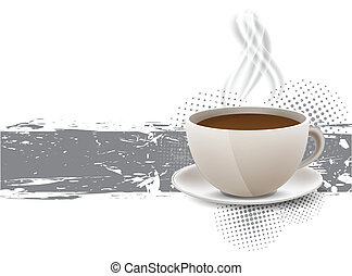 Grunge background with coffe cup and steam