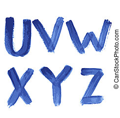 Handwritten blue watercolor alphabet U, V, W, X, Y, Z Vector...