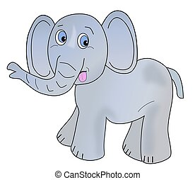 Gray Infant Elephant - Illustration of an infant gray...