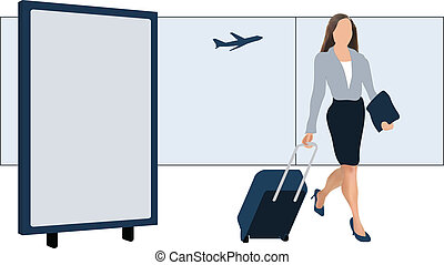 Airport billboard - Modern female traveler with luggage at...