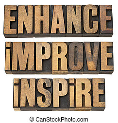 enhance, improve, inspire - a collage of isolated...