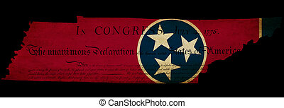 USA American Tennessee state map outline with grunge effect flag insert and Declaration of Independence overlay