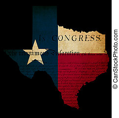 USA American Texas state map outline with grunge effect flag insert and Declaration of Independence overlay
