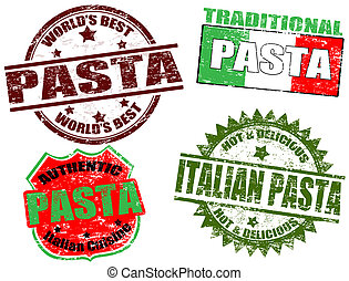 Pasta stamps - Set of grunge rubber stamps with the word...