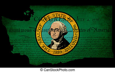 USA American Washington state map outline with grunge effect flag insert and Declaration of Independence overlay