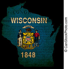 USA American Wisconsin state map outline with grunge effect flag insert and Declaration of Independence overlay