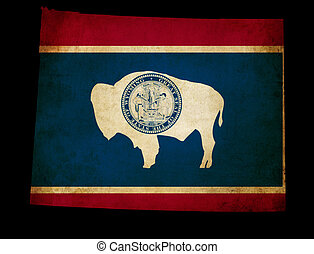 USA American Wyoming State Map outline with grunge effect flag