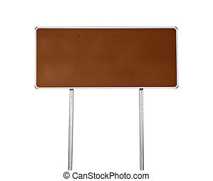 Blank Brown Highway Sign Isolated - Blank brown highway sign...