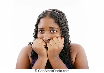 A young frightened black woman, isolated on white