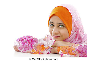 Pretty Muslim Woman - Pretty muslim woman smiling, on white...
