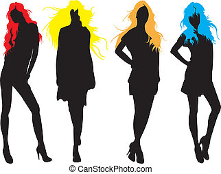 Fashion models - Fashion model in colour hair silhouettes