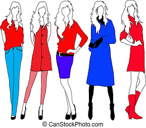 Fashion models. - Fashion model in colourful outfits.