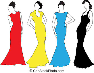 Fashion models. - Fashion models in silhouettes.