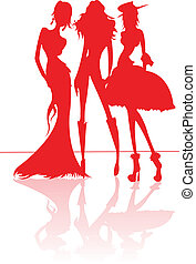 Fashion models. - Fashion models in red silhouettes.