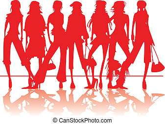 Fashion models - Fashion models in red silhouettes