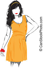 Fashion model. - Fashion model in orange.