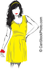 Fashion model. - Fashion model in yellow.