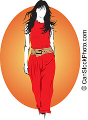 fashion model. - Fashion model in red outfit.