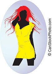 Fashion model. - Fashion model in yellow outfit.