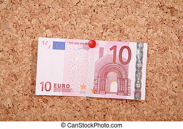 Pinboard - a pinboard with a thumtack banknote on it...