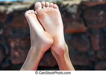 feet of young boy - feet of relaxed young boy