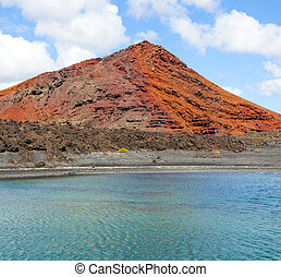 volcano in timanfaya national park in Lanzarote, Spain -...