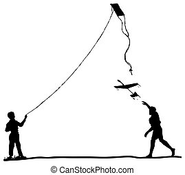 Model aircraft sports - Children run the kite and model...