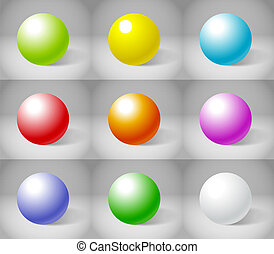 Nine color plaster spheres collection
