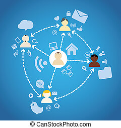 Diferrent nations of people network connections