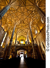 Mosteiro dos Jeronimos - interior of the church of the...