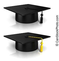 graduación, gorra, 3D, interpretación