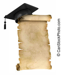 Graduation Cap on parchment - Graduation Cap on the top of...