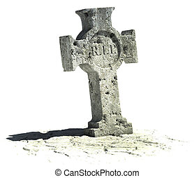 cross shaped gravestone on the white background with rip...