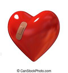broken heart 3d illustration