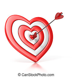 heart shaped target with the arrow in the center isolated...